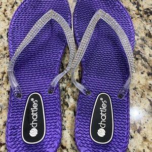 Purple CHATTIES flip flops size XL